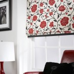 red floral roman blinds