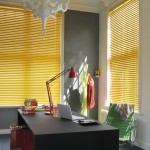Yellow metal venetian blinds